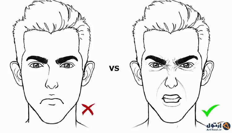 آموزش طراحی حالت عصبانی چهره   آموزش نقاشی چهره بداخلاق   طراحی حالات عصبانی چهره   نقاشی حالات چهره   آرت تول   Arttool  طراحی حالات چهره   نقاشی چهره عصبانی   طراحی انواع حالات چشم