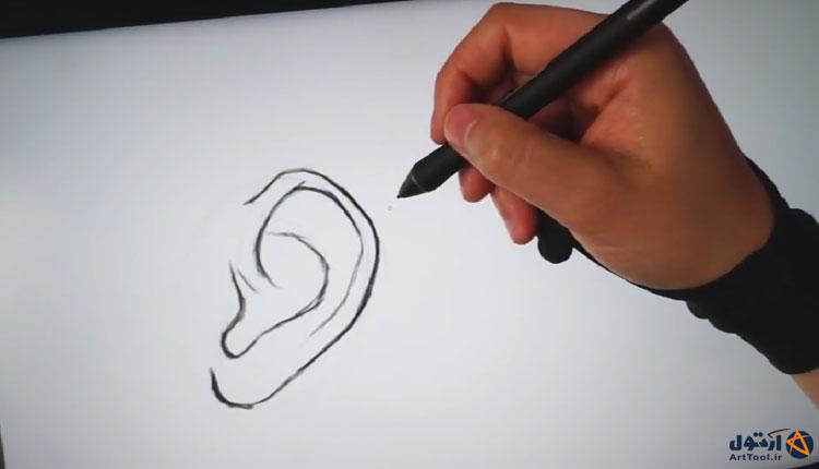 چگونه گوش طراحی کنیم؟ طراحی خطی گوش | طراحی دیجیتال | آموزش طراحی گوش | آرت تول