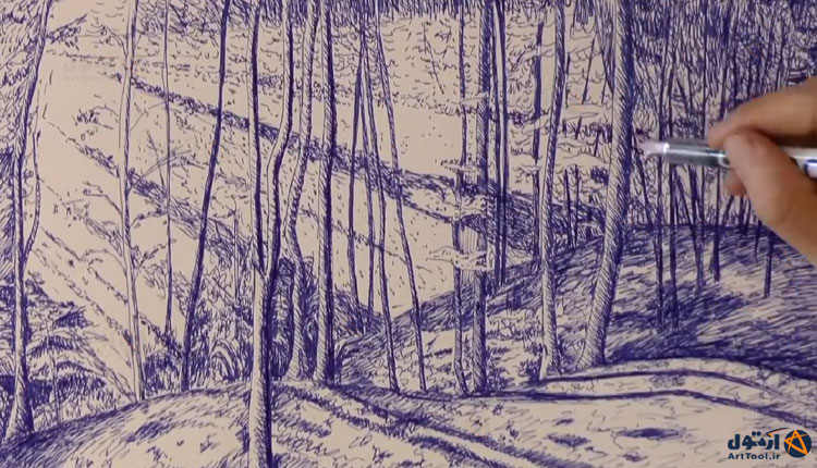آموزش طراحی درخت | آموزش نقاشی درخت | طراحی درخت | طراحی درخت با خودکار | طراحی انواع درخت | Arttool |