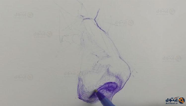 آموزش طراحی با خودکار   آموزش طراحی بینی با خودکار   آموزش طراحی   طراحی بینی با خودکار   آرت تول