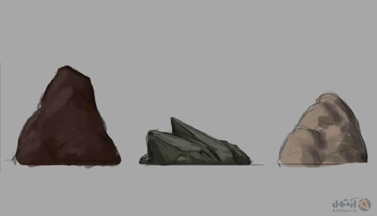 آموزش طراحی سنگ - نقاشی دیجیتال | آموزش digital painting| دییجیتال پینتینگ | تصویر سازی ذهنی