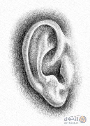 چگونه گوش طراحی کنیم ؟ | آموزش طراحی گوش با مداد - کسیدن گوش در طراحی