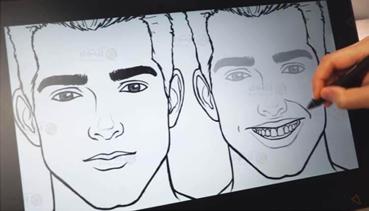 طراحی حالت چهره خندان - گونه - نقاشی دیجیتال