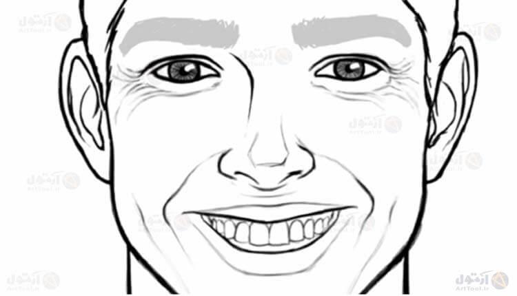 طراحی حالت چهره خندان - چین و چروک- نقاشی دیجیتال